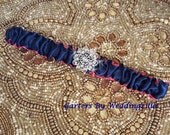 Navy and hot pink wedding garter set