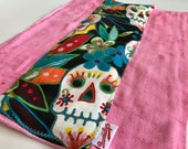 Sugar Skull, Pink, Burp Cloth
