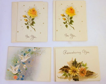 Vintage GIFT CARDS Small Enclosure Cards / Lot of 4 / Made in U.S.A. / Floral Rose Doves