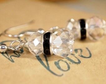 Crystal  and Rhinestone Drop Earrings,  Wedding Dangle Pierced or Clip-on Earrings, Black Tie Event Earrings,  Elegant Earrings