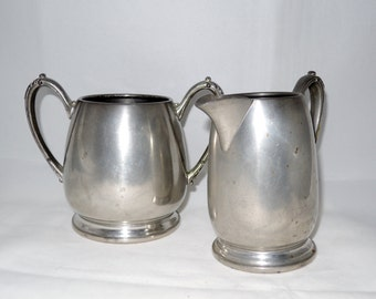 New Amsterdam Silver Co. Vintage Pewter Cream & Sugar