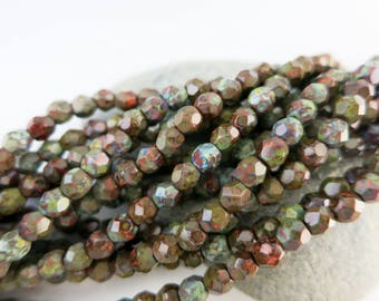 4mm Deep Jungle Picasso Beads, Faceted Firepolished, Czech Glass, Strand of 50