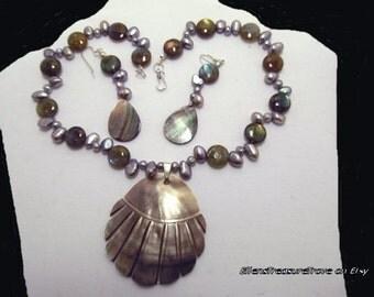 Black-lip shell jewelry,freshwater pearl jewelry,labradorite jewelry,black-lip shell,freshwater pear,labradorite,necklace set
