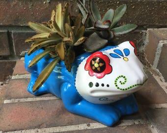 Talavera Inspired Frog Planter