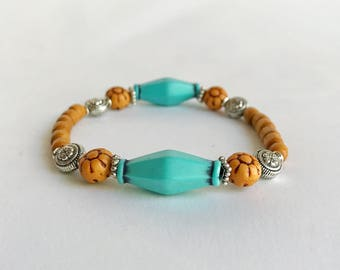 Wooden bohemian bracelet, blue and silver, layering bracelet, large bead bracelet, boho bead bracelet, chunky bracelet, turquoise