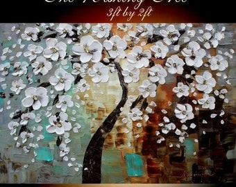 SALE Large Abstract painting,Original comtemporary Art ,White,Cherry Blossom Tree Of Life Ready to hang  by Nicolette Vaughan Horner