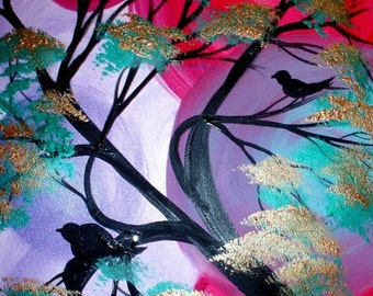 SALE Original painting in oil /acrylic  Bird Talk  by Nicolette Vaughan Horner