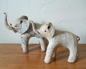 Vintage Elephant Figurines Set Of 2, Crushed Oyster Shell Elephants, Raised Trunks Elephant Decor Nursery Decor Jungle Animals Animal Decor