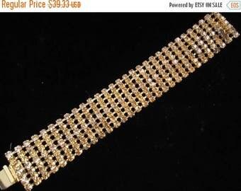 On Sale Vintage Amber Rhinestone Bracelet Mad Men Mod Retro Rockabilly Modernist Chunky Wide Sparkly Stone 1950s 1960s Mid Century Jewelry