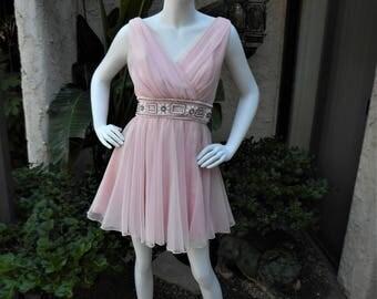 Vintage 1960's Miss Eilliette Pink Chiffon Cocktail Dress - Size