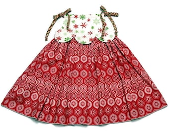 Girls Christmas Dress Ornaments Snowflakes Red and White Pillowcase Size 2T, 3T, 4T, 5, 6, 7, 8