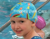 Lycra SWiM CaP - LET's Go FISHING - Sizes - Baby , Child , Adult , XL - Made from Spandex / Swimsuit Swimming Fabric -by Froggie's Swim Caps