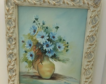 Vintage Blue Daisy Painting Beautiful Frame