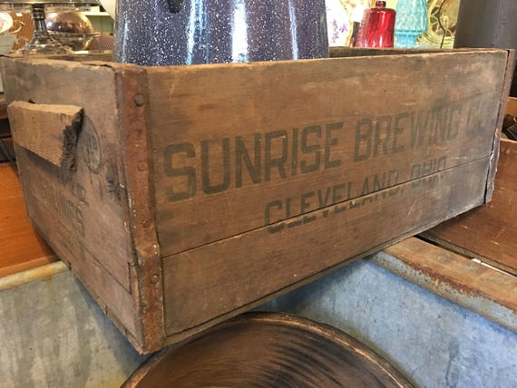 Sunrise Brewing Co Cleveland Ohio Wood Box Crate