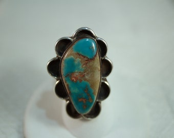 Navajo Inspired, Southwestern Turquoise and Silver Ring