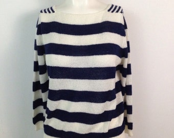 Vintage 1980s Navy Blue and White Stripe Semi Sheer Boat Neck Sweater / Women's Medium / 80s Long Sleeve Pullover Sweater