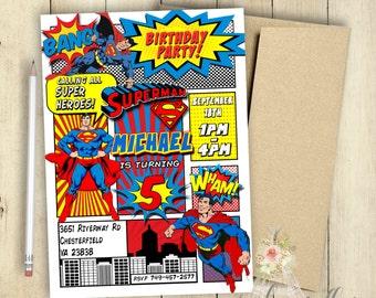 Superman Invitation Superman Birthday Party Comic Book Customized Superhero Invitation PRINTABLE