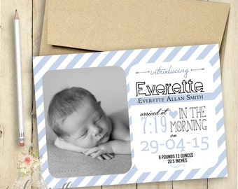 Baby Boy Birth Announcement PRINTABLE