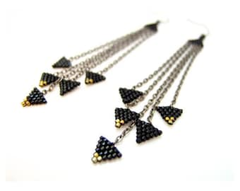 Black Triangle Earrings, Beaded Black Earrings, Black Dangle Earrings, Beaded Chain Earrings