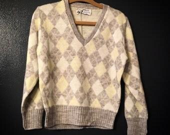 Vintage Pandora Pixies Toddler Luxury-Spun Argyle Orlon Unisex Children's Sweater SHIPS FREE