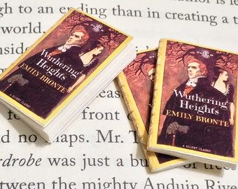 SALE - Miniature Book / Wuthering Heights by Emily Bronte / Tiny Book with real blank pages / 1:6 sixth scale mini book / Heathcliff
