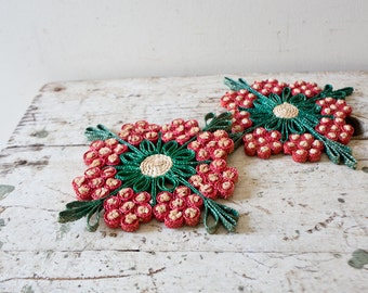 Wicker Flower Pot Holder Colorful Trivet Hot Pad Christmas Red Green Pad Kitchenware