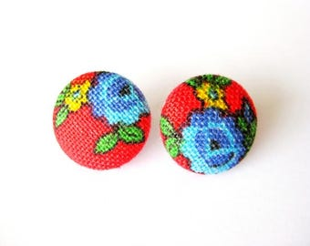 Floral fabric covered button earrings in red, blue, green and yellow, stud earrings