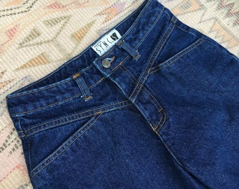 vintage 80's high waist jeans w 27 - dark wash indigo - tapered leg - perfect fit