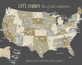 National Park Map on Wood Real Wood Print Gift for hiker