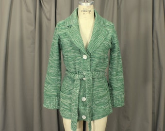 1970's Cardigan / Green Space Dyed Wrap Sweater / Women's Vintage  Jumper