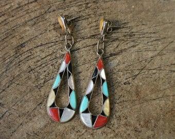 Zuni Drop EARRINGS/ Stone Inlay Sterling Silver  Jewelry / Vintage Southwest kaleidoscope Earrings