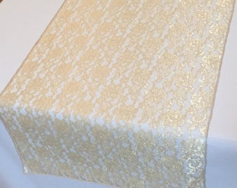 """Gold Lace Table Runner Gold Wedding Table Runner -  14"""" WIDE - SELECT A SIZE For Length - more colors available"""