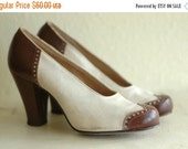 BLACK FRIDAY SALE / vintage 1940s shoes / 40s spectator pumps / white and brown heels / size 5.5