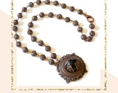 Brass Victorian Necklace Black Onyx Vintage Necklace GIfts For Her Steampunk Jewelry