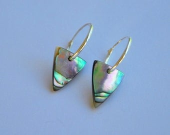 Paua shell triangle earrings on sterling silver hoops~ New Zealand abalone/turquoise blue/green, geometric