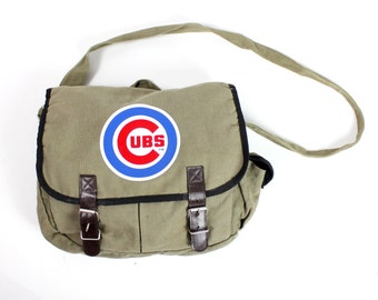 Vintage Retro Chicago Cubs Brown Canvas Messenger Side Bag