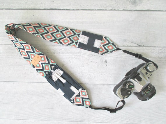 Cross Body Camera Strap | Mint, Coral and Navy Padded Camera Strap with Navy Lens Cap Pockets