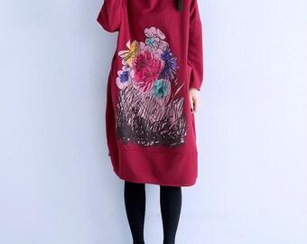 Spring Loose round collar long Wine red dress Leisure Oversize dress