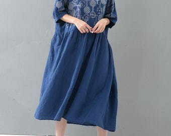Women loose fitting long dress large size maxi dress/Dark blue/ black