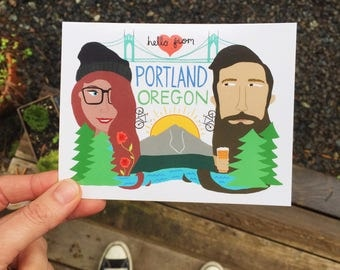 Postcard - Portland Oregon - PNW, Hipster, Mt Hood, Beer, St.Johns Bridge, Bikes
