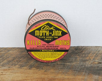 Vintage Click Moth-Jinx Empty Moth Container Tin Brooklyn New York