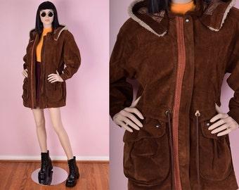 80s Suede Hooded Jacket/ Medium/ 1980s/ Hoodie/ Coat