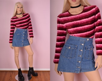 90s Pink Striped Shaggy Sweater/ Small/ 1990s/ Long Sleeve/ Fuzzy
