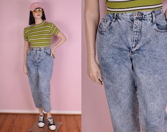 80s High Waisted Acid Wash Jeans/ US 16/ 34.5 Waist/ 1980s/ Denim