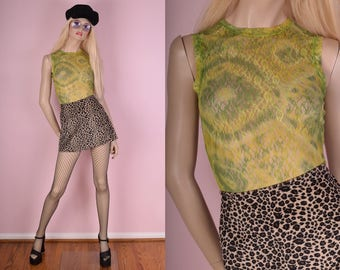90s Tie Dye Floral Lace Tank Top/ Small/ 1990s