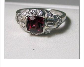 Art Deco Platinum 1.4 Ct Cushion Cut Rhodolite Garnet and Diamond Engagement Ring