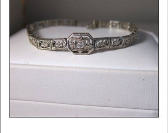 Antique Art Deco 14k Mine Cut Diamond Filigree Bracelet