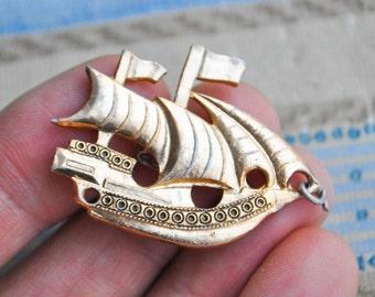 """Vintage Soviet Russian badge,pin.""""Sailing ship"""""""