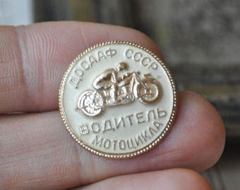 "Vintage Soviet Russian aluminum badge,pin.""Motorcycle driver"""