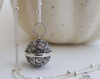 Cute 12mm Swirls Harmony Ball Sterling Silver Pendant Chain Necklace LS74